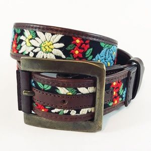 Dolce & Gabbana Embroidered Belt w/Leather Trim